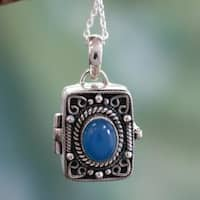 Handcrafted Sterling Silver 'Secret Prayer' Chalcedony Locket Necklace (India)