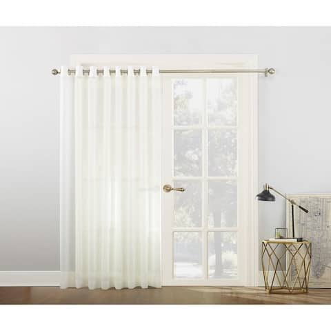 No. 918 Emily White Extra-wide Sheer Voile Sliding Door Patio Curtain Panel - 100 x 84