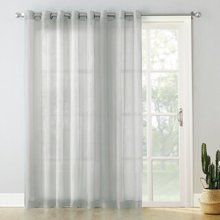 No. 918 Emily White Extra-wide Sheer Voile Sliding Door Patio Curtain Panel