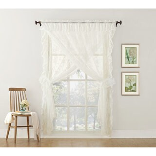 No. 918 Alison Priscilla Ruffled Floral Lace Sheer Priscilla 5-piece Curtain Set