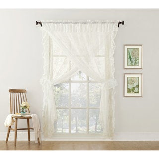No. 918 Alison Priscilla Ruffled Floral Lace Sheer Priscilla 5-piece Curtain Set (4 options available)