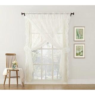 918 alison priscilla ruffled floral lace sheer priscilla 5piece curtain set