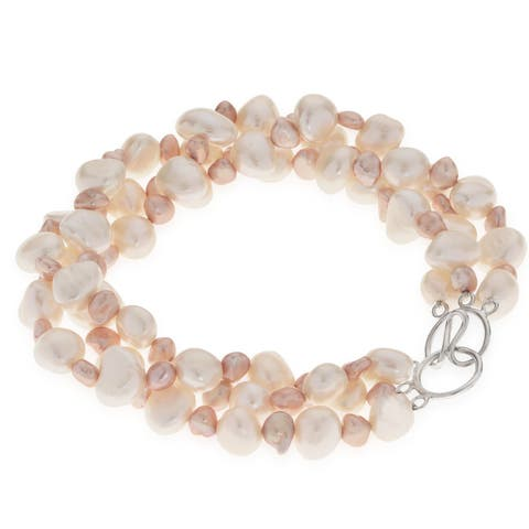 """Pearls For You 8.5"""" 3Str White and Pink Freshwater Pearl Twist Bracelet (8-8.5 mm, 5-6 mm)"""