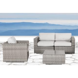 Verona Grey Wicker and Aluminum 4-piece Deep Seating Group with Cushion