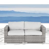 Living Source International Verona Wicker Loveseat with Cushions