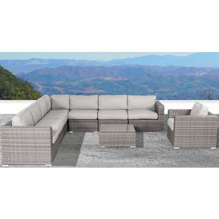 Living Source International Verona Wicker 8-piece Deep Seating Group with Cushion