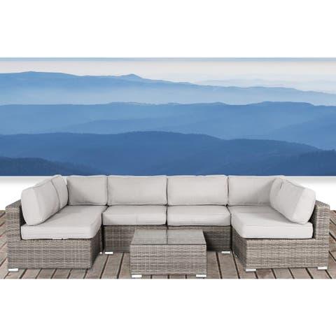 Living Source International Verona Wicker 7-piece Deep Seating Patio Furniture Set