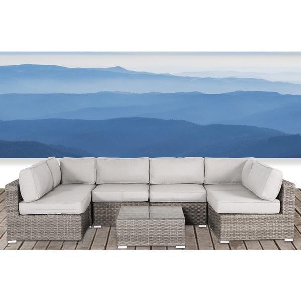 shop living source international verona wicker 7 piece deep seating rh overstock com Outdoor Deep Seating Cushion Sets Outdoor Deep Seating Replacement Cushions