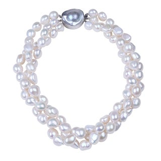 3 ROW SILVER PEARL NECKLACE