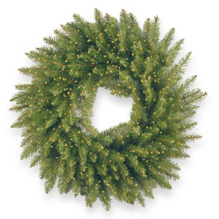 """24"""" Kingswood Fir Wreath with Battery Operated Infinity(TM) Lights"""
