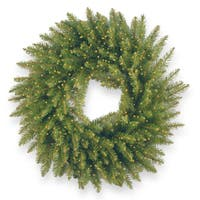 "24"" Kingswood Fir Wreath with Battery Operated Infinity(TM) Lights"