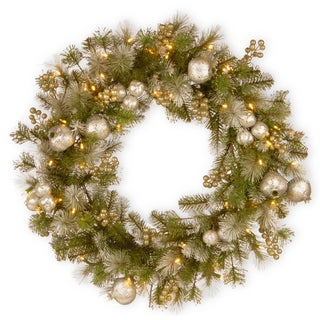 "30"" Glittery Pomegranate Pine Wreath with Battery Operated LED Lights"