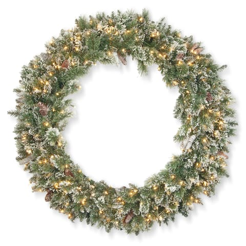 "48"" Glittery Bristle Pine Wreath with Clear Lights"