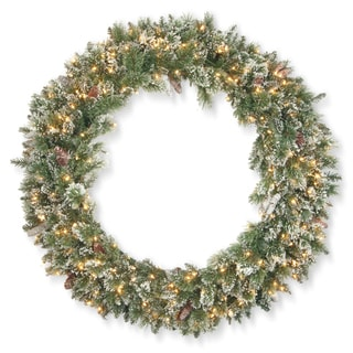 """48"""" Glittery Bristle Pine Wreath with Clear Lights"""