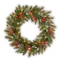 """30"""" Frosted Pine Berry Wreath with Battery Operated LED Lights"""