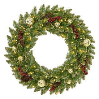"""24"""" Glittery Gold Dunhill® Fir Wreath with Battery Operated LED Lights"""