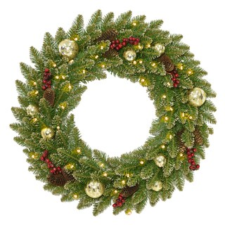 "24"" Glittery Gold Dunhill® Fir Wreath with Battery Operated LED Lights"