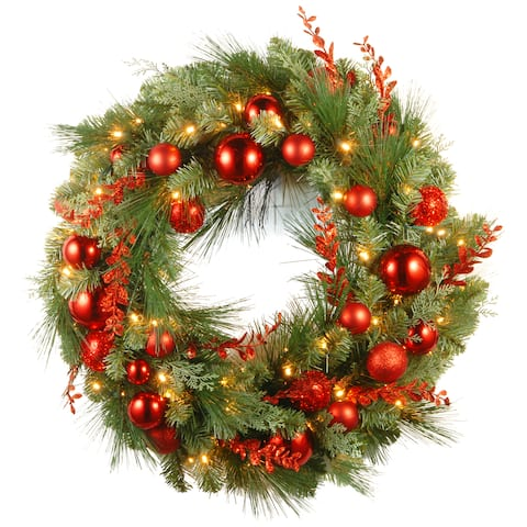 "30"" Decorative Collection Christmas Red Mixed Wreath with Battery Operated Warm White LED Lights"