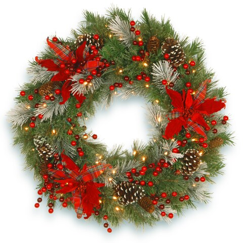 """30"""" Decorative Collection Tartan Plaid Wreath with Battery Operated Warm White LED Lights"""