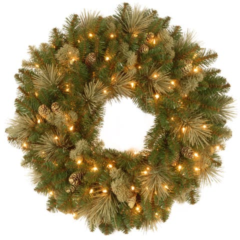 "30"" Carolina Pine Wreath with Battery Operated LED Lights"