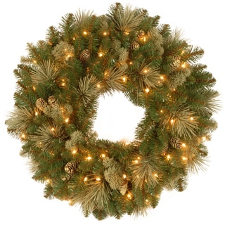 """30"""" Carolina Pine Wreath with Battery Operated LED Lights"""