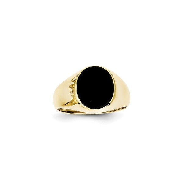 10K Yellow Gold Polished and Satin Onyx Men's Ring by Versil. Opens flyout.