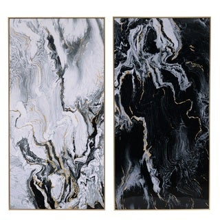 Golden Wood-framed 35.5-inch x 2-inch x 73-inch Marbled Print (Set of 2)