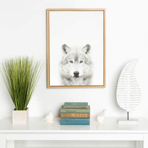 Kate and Laurel Simon Te Tai 'Sylvie Wolf' Black and White Portrait Natural Framed Canvas Wall Art