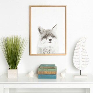 Kate and Laurel Sylvie Simon Te Tai 'Fox' Black/White Portrait Natural Framed Canvas Wall Art