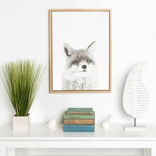 Kate and Laurel Sylvie Simon Te Tai 'Fox' Black/White Portrait Natural Framed Canvas Wall Art