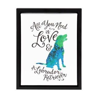 DesignOvation Sylvie 'All You Need is Love and a Labrador Retriever' Watercolor Print Framed Canvas