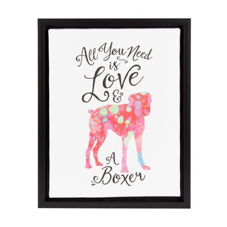 DesignOvation Sylvie 'All You Need is Love and a Boxer' 11-inch x 14-inch Watercolor Print Framed Canvas Dog Art