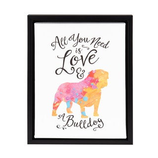 DesignOvation Sylvie 'All You Need is Love and a Bulldog' 11-inch x 14-inch Watercolor Print Framed Canvas Dog Art