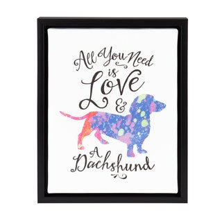 DesignOvation Sylvie 'All You Need is Love and a Dachshund' Watercolor Print Dog Art 11-inch x 14-inch Framed Canvas