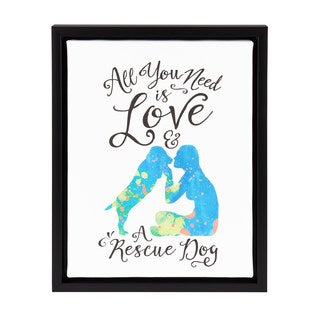 DesignOvation Sylvie 'All You Need Is Love and a Rescue Dog' 11x14 Watercolor Print Dog Art Framed Canvas
