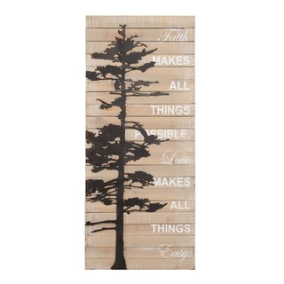 Kate and Laurel Faith Makes All Things Possible Rustic Wood Pallet with Metal Tree Wall Art Plaque