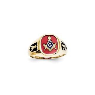 10 Karat Yellow Gold Red Acrylic Mens Masonic Ring in Size 9.5
