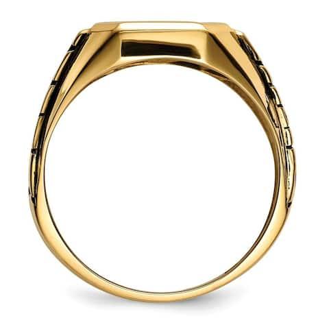 10K Yellow Gold Polished Blue Acrylic Men's Masonic Ring by Versil