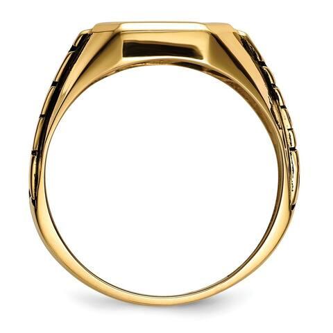 Versil 10 Karat Yellow Gold Blue Acrylic Men's Masonic Ring