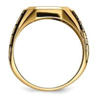 10 Karat Yellow Gold Blue Acrylic Men's Masonic Ring