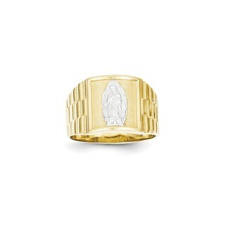 10 Karat Yellow Gold & Rhodium Men's Our Lady of Guadalupe Ring