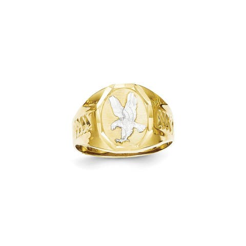 Versil 10 Karat Yellow Gold and Rhodium Men's Eagle Ring