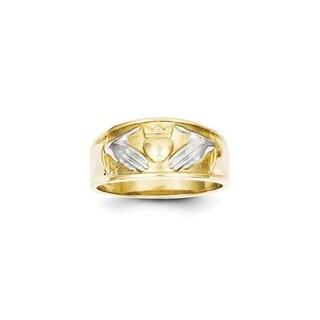 10 Karat Yellow Gold & Rhodium Men's Claddagh Ring