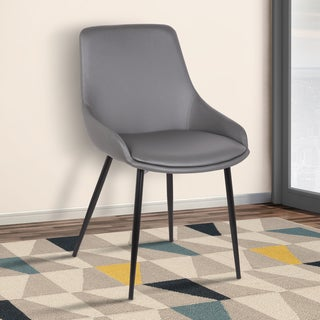 Armen Living Mia Contemporary Grey Fabric Dining Chair with Black Powder-coated Metal Legs