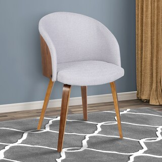Armen Living Alpine Mid-Century Grey Fabric with Walnut Wood Dining Chair