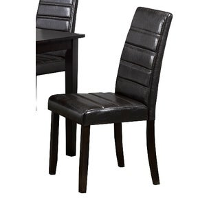 Brassex 3045 Santiago Black Faux Leather Dining Chair (Set of 2)
