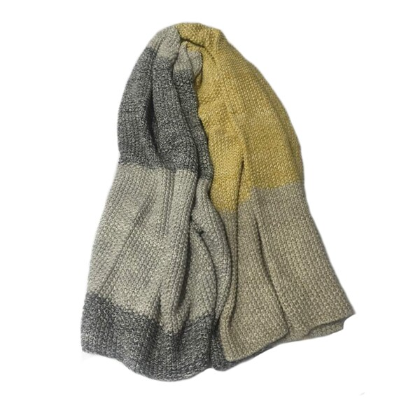 Vena Collection Grey/ Yellow Striped Super Soft Cotton Throw Blanket by Pink Lemonade
