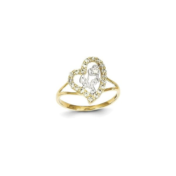 Shop 10 Karat Gold And Rhodium I Love You Cz Heart Ring By Versil Overstock 16402678