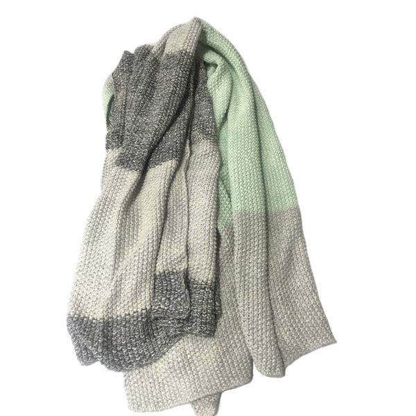 Vena Collection Green/ Grey Striped Cotton Throw Blanket by Pink Lemonade