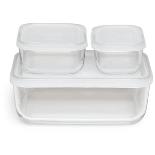 Bormioli Rocco Frigoverre Basic Rectangle Glass Food Storage Containers with Lids